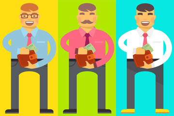 Vector flat bright illustration of set emotion men, they hold a