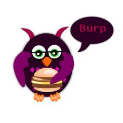 Gufo mangia un panino