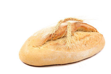 Bread and wheat ears on white background.