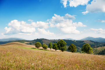 Landscape of hills and mountains