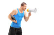 Male fitness coach shouting through a megaphone