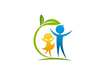 Natural care healthy Kids logo abstract children foundation
