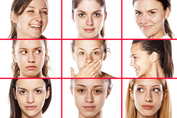 collage of female faces without makeup