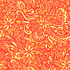 Golden Autumn. Seamless decorative pattern.