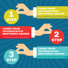 Hands with Infographic Round Blocks - Vector illustration