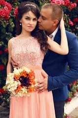 wedding photo of beautiful tender couple