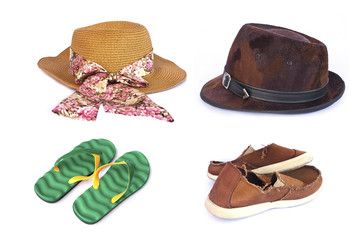 Women's and men's hats ,slippers and old red sneakers on white