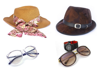 Women's and men's hats and Brown sunglasses on white