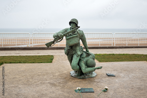 Poster Soldier statue memorial. Omaha beach, France.