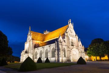 Royal Monastery of Brou at dusk. Bourg-en-Bresse, France.