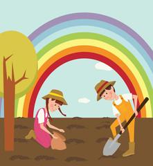Children planted seeds