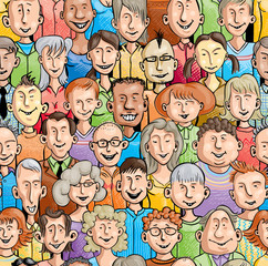 Smiling faces. Seamless pattern