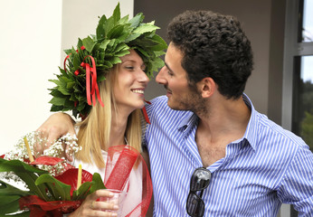 Young couple celebrating degree