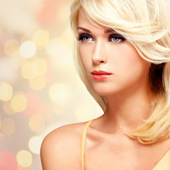Fashion portrait of a beautiful blond woman