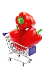 Three Bell Peppers in shopping  cart