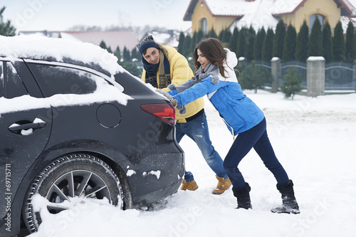 canvas print picture Stuck car in snowdrift is big problem for us