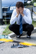 Man crying at accident scene