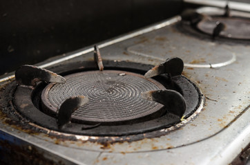 Dirty gas burner closeup