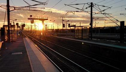 Sunset on suburban station