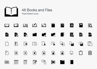 48 Books and Files Pixel Perfect Icons