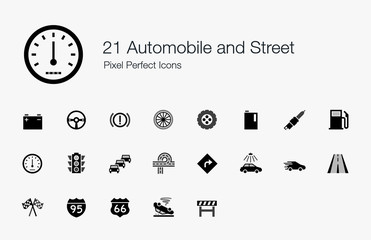 21 Automobile and Street Pixel Perfect Icons