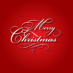 Red background with Merry Christmas calligraphic lettering