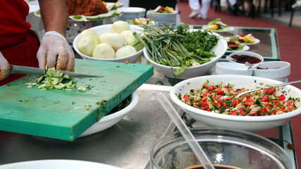Chef Chopping Salad Ingredients