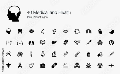 Fototapeta 40 Medical and Health Pixel Perfect Icons