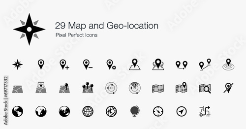 29 Map and Geo-location Pixel Perfect Icons - 69717332