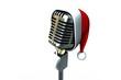 Retro microphone with santa hat
