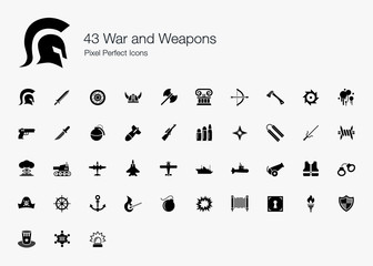 43 War and Weapons Pixel Perfect Icons