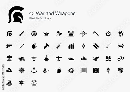43 War and Weapons Pixel Perfect Icons - 69717505