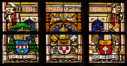 Religion stained-glass in the cathedral of Gent, Belgium - 69717542