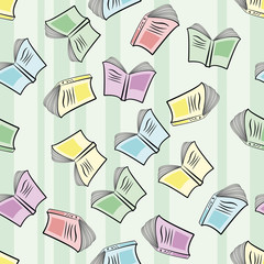 Back to School. Seamless flying books pattern