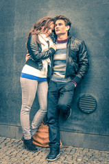 Modern fashion hipster couple of young lovers with autumn style
