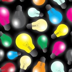 color light bulbs - light source seamless pattern eps10