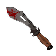 Machete with blood to hunt zombies
