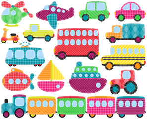 Vector Collection of Cute Patchwork Style Transportation Images