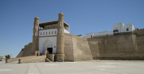 Ancient fort of Bukhara on Silk Road in Uzbekistan.