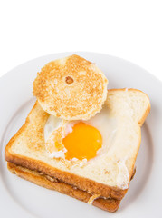 Egg in the basket bread toast