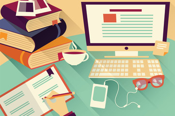 Flat design objects, work desk, office desk, books, computer