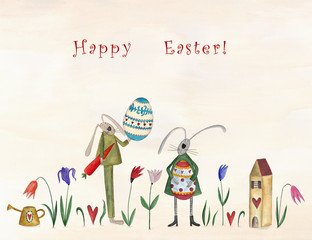 Happy Easter. Greeting card