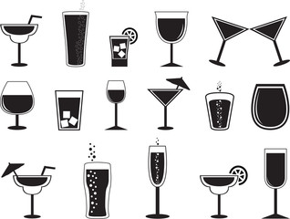 Drinks collection illustrated on white
