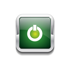 Power Rounded Rectangular Vector Green Web Icon Button