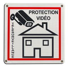 plaque télésurveillance, maison sous protection vidéo