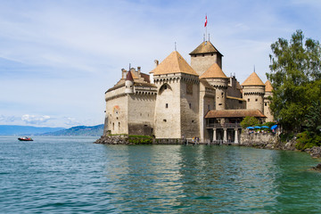 Chillon Castle on the shores of Lake Geneva, Alps Switzerland