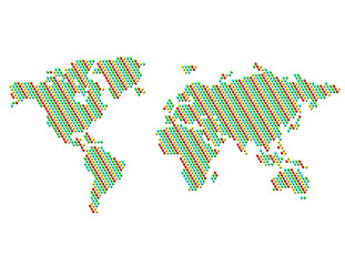 Dotted Map of the World Color Patterned