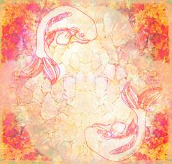 Japanese koi fish grunge background