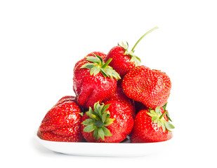 Fresh ripe strawberries on a white background isolated