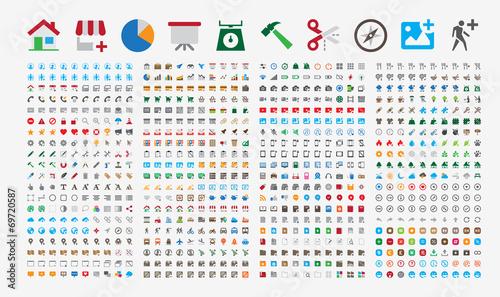 Zdjęcia na płótnie, fototapety, obrazy : 800 Premium Icons. Round corners. Flat colors. Pixel Perfect.